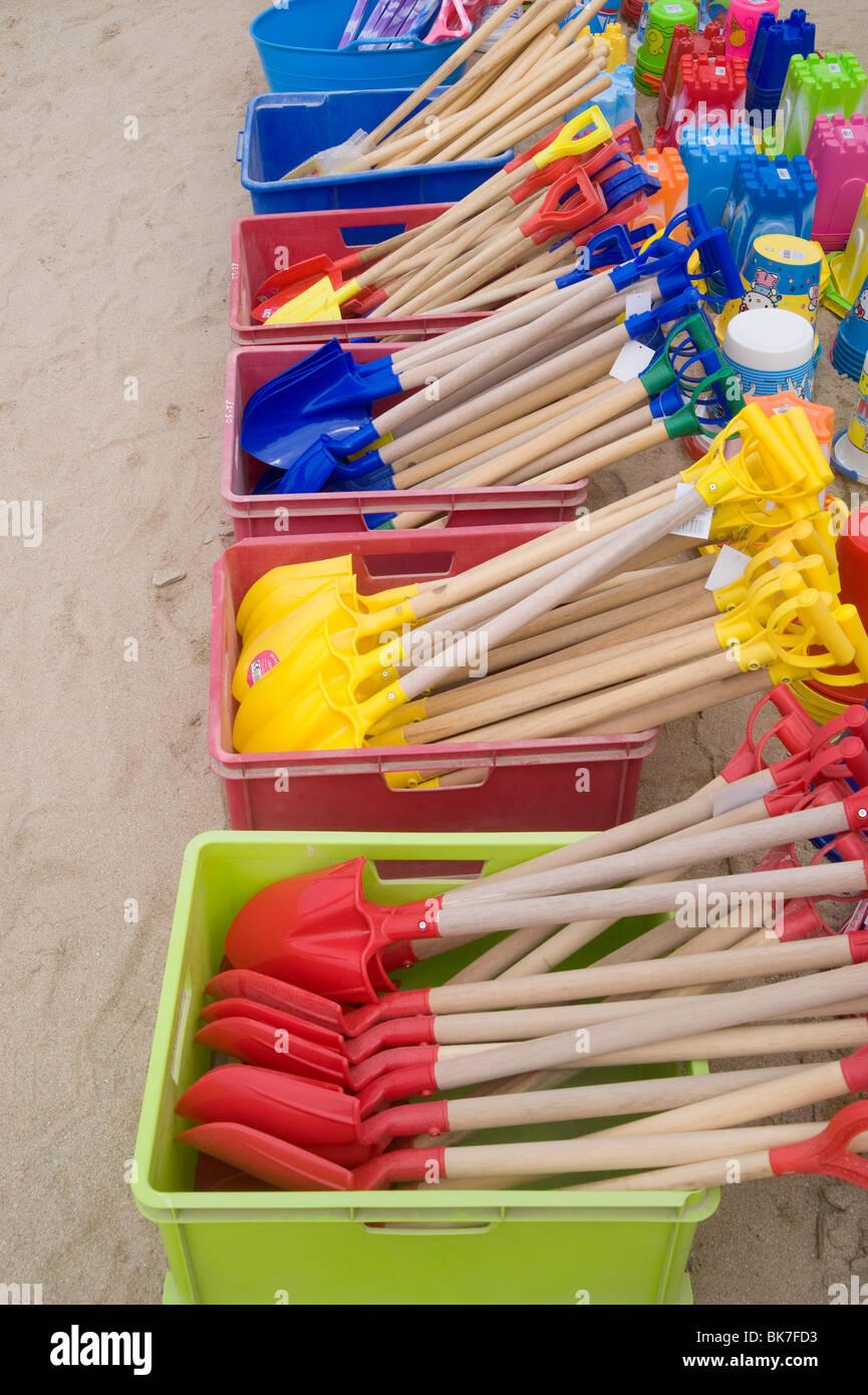 Beach spades at newquay - Stock Image