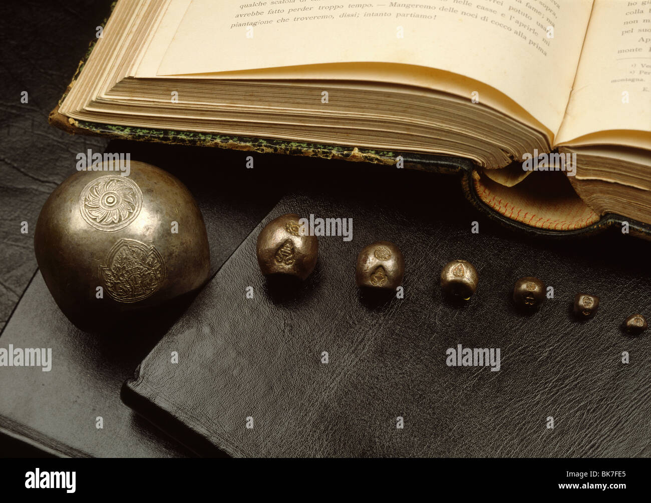 Bullet coins from Ayutthaya period in Thailand, Southeast Asia, Asia Stock Photo