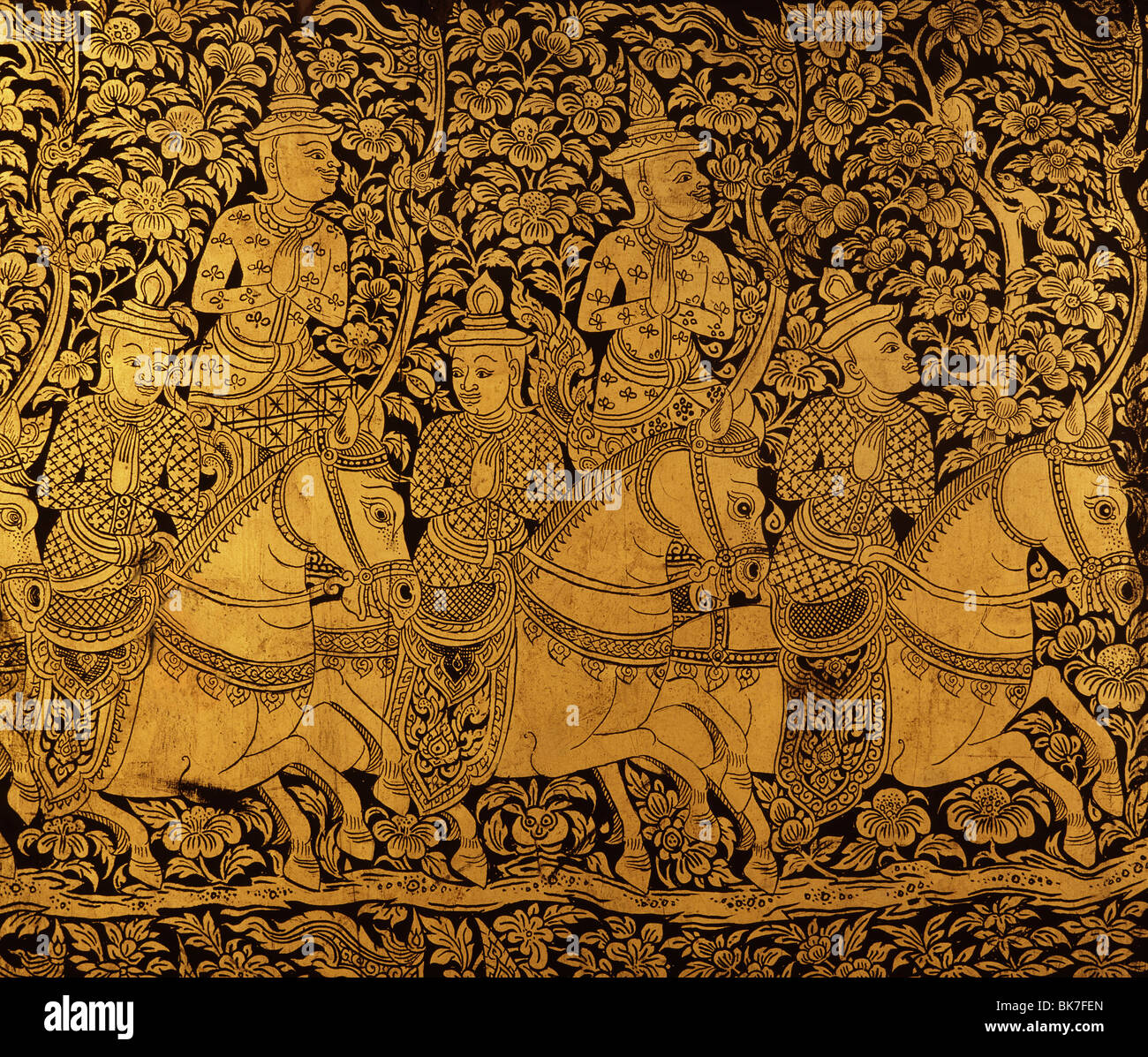 Detail of a lacquered cabinet with a scene of horsemen from the late Ayutthaya period, Thailand, Southeast Asia, - Stock Image