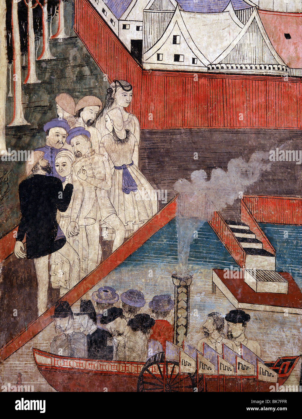 Foreign traders and Chinese merchants depicted in a mural dating in Wat Phumin in the town of Nan, Northern Thailand - Stock Image