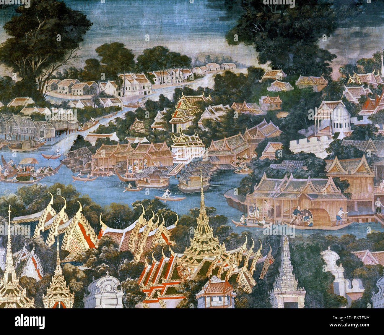 Detail of mural dating from 1864 showing Bangkok with the Chaophraya River and the Grand Palace roofs in the foreground - Stock Image