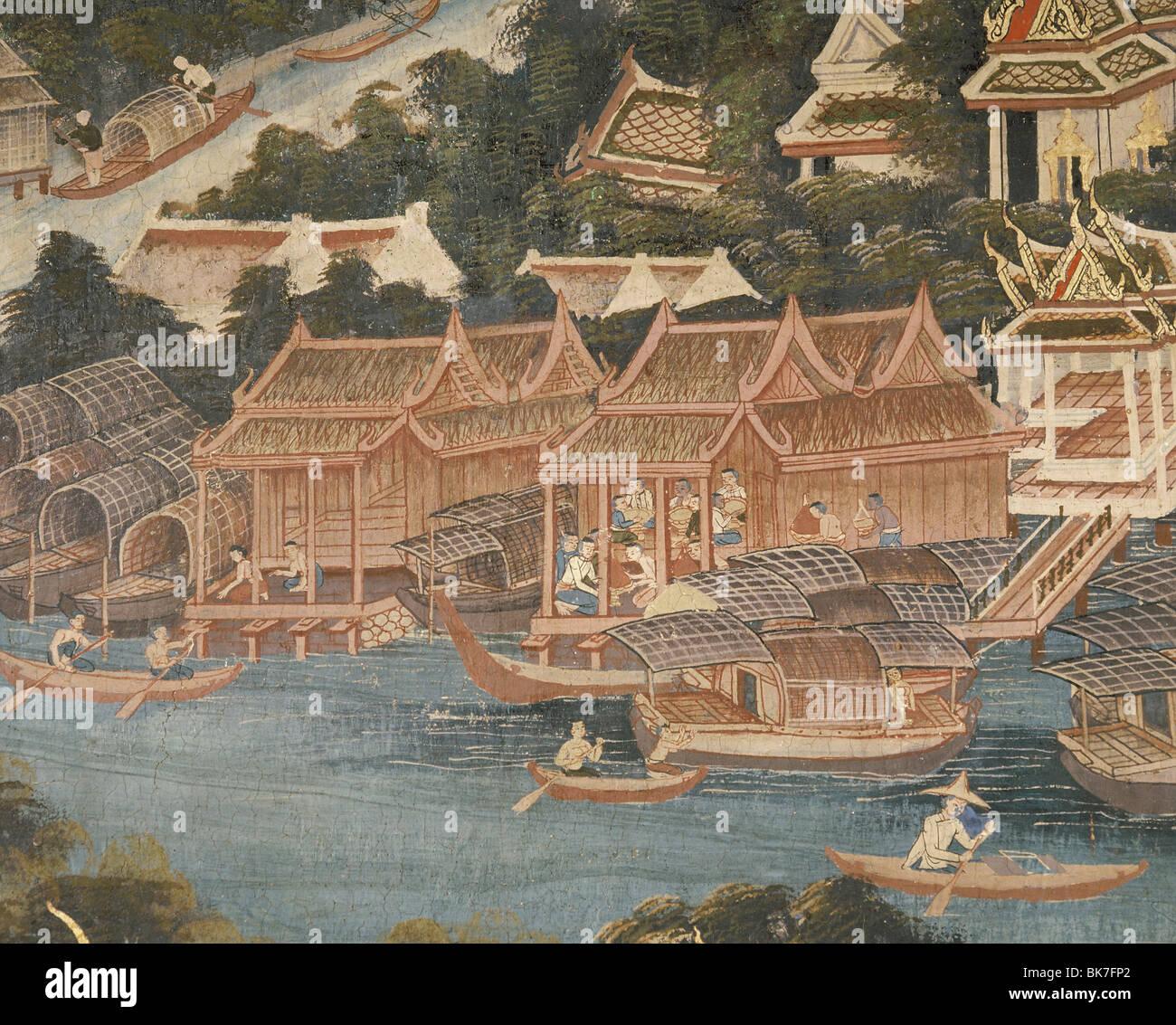 Detail of a mural showing houses along the Chaophraya River, Wat Rajapradit, Bangkok, Thailand, Southeast Asia, - Stock Image