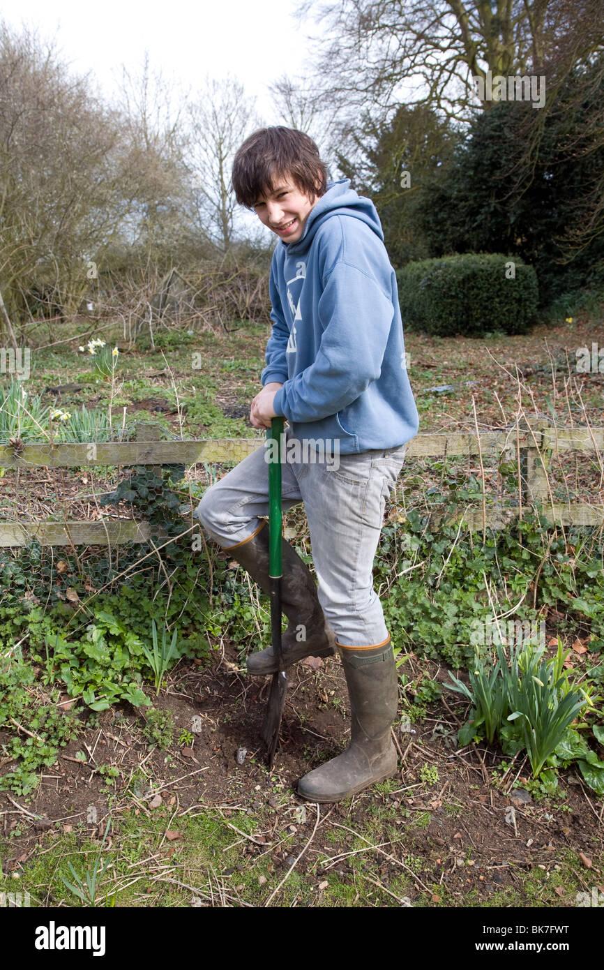 Model released teenage boy digging hole in garden Stock Photo