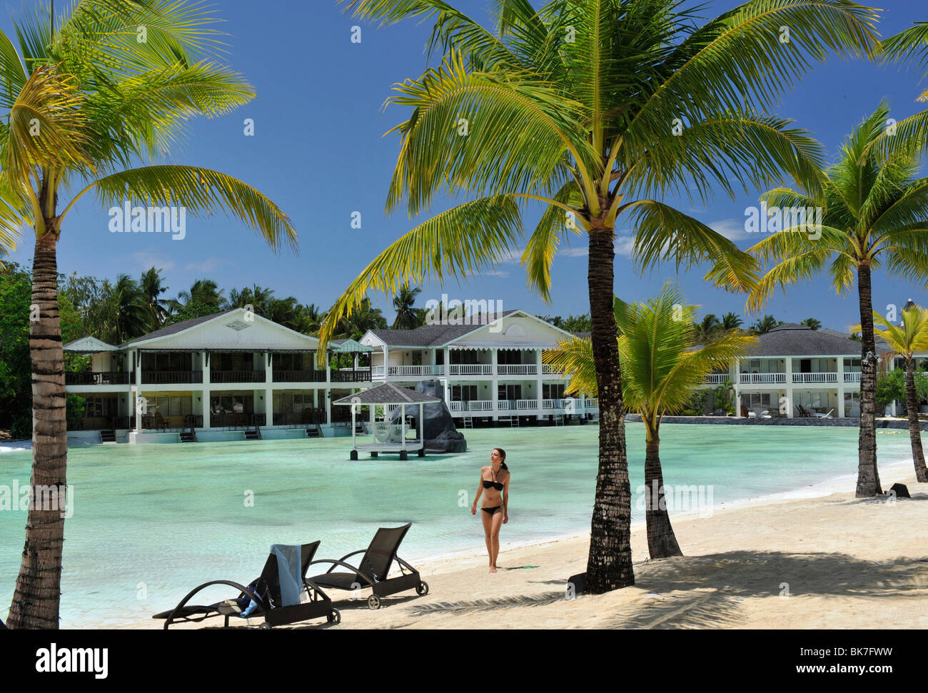Girl at the pool at Plantation Bay Resort in Cebu, Philippines, Southeast Asia, Asia&#10, - Stock Image