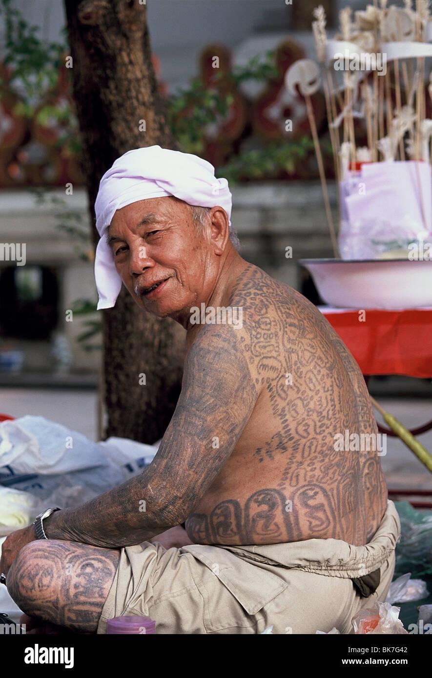 Shan Man With Tattoo Myanmar Burma Asia Stock Photo
