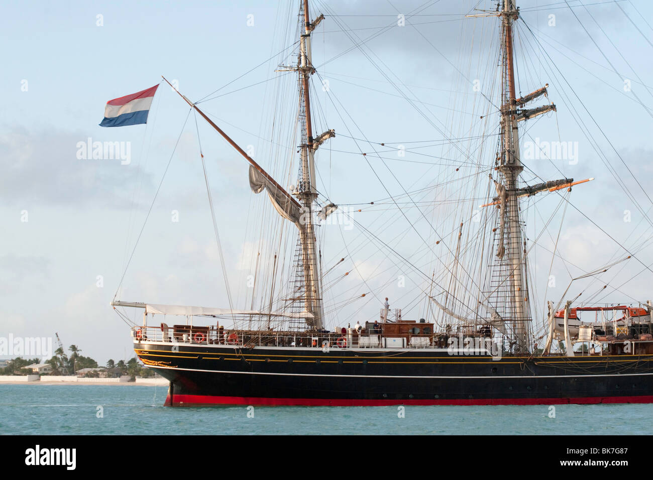 The square-rigged ship STAD AMSTERDAM in port at Simpson Bay, Sint Maarten - Stock Image