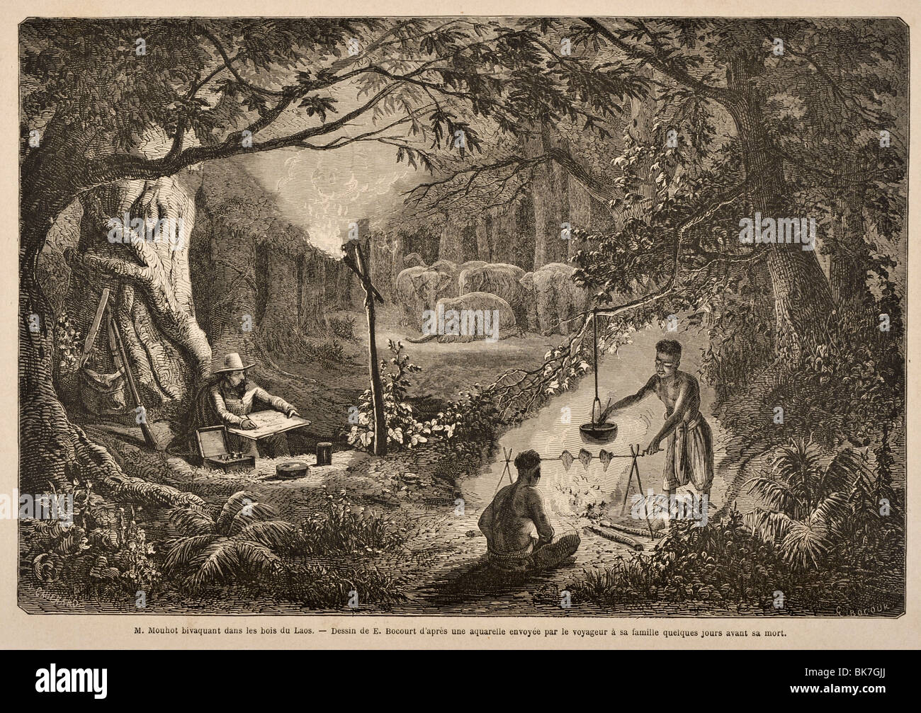A 19th century engraving of the French explore Mouhot, the discoverer of Angkor, camping in the jungles, Laos - Stock Image
