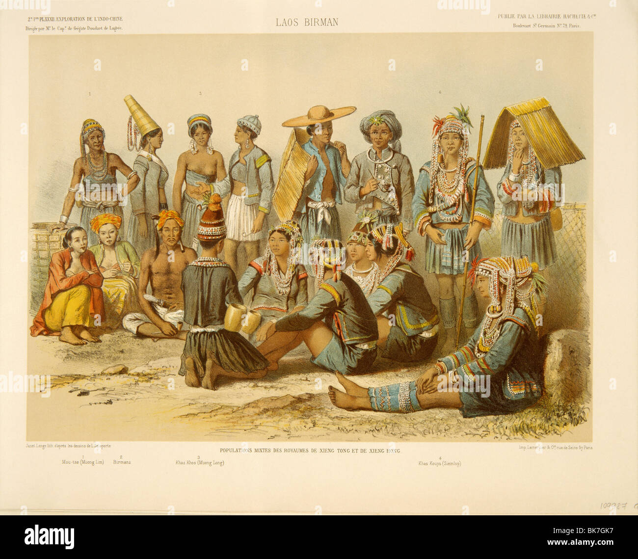 Hill tribes of Laos, mostly Akha and Hmong, depicted in Exploration de L'Indo-Chine by Delaporte, Laos - Stock Image