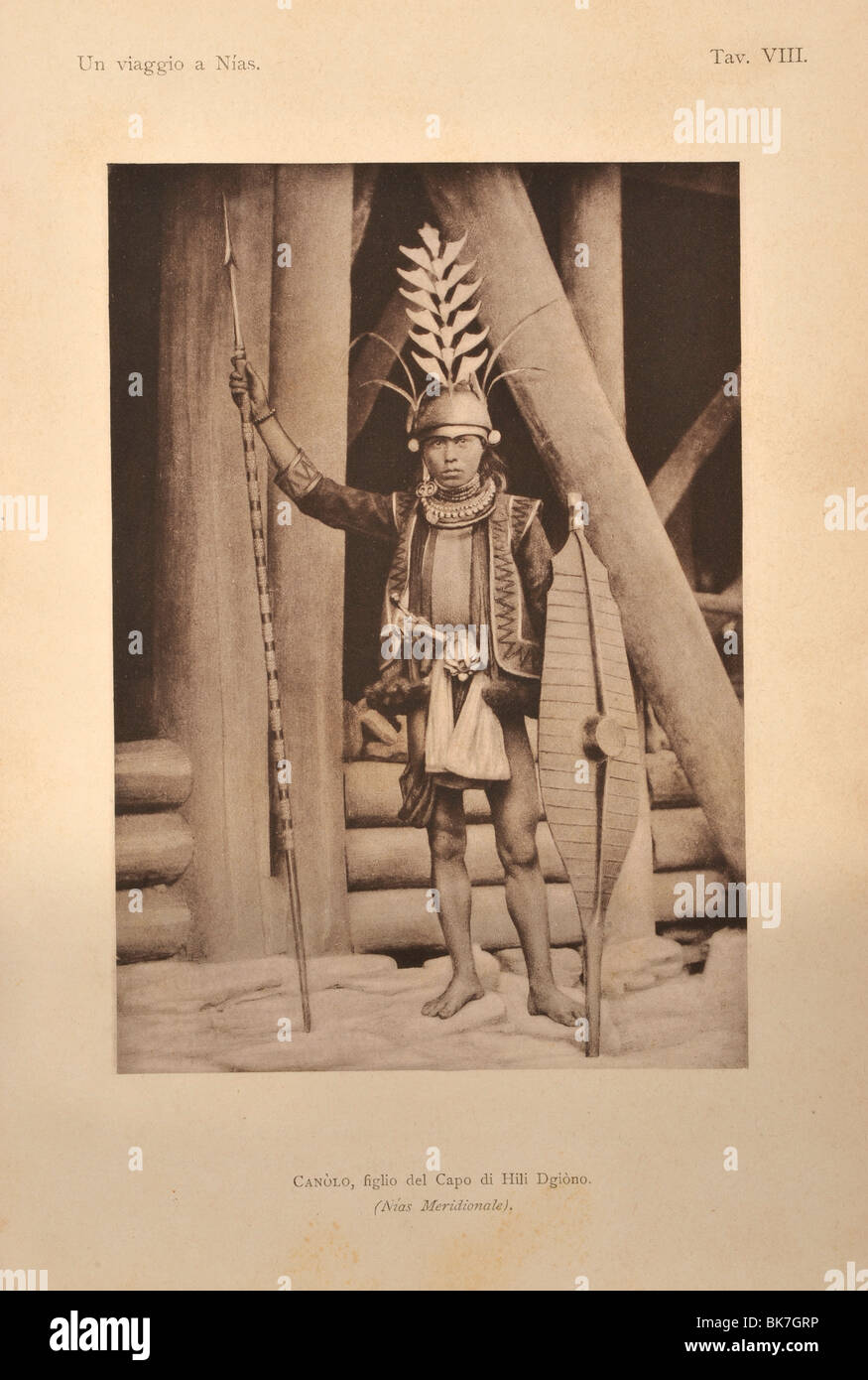 Nias Chieftain, from Viaggio a Nias, Modigliani, 1900, Indonesia, Southeast Asia, Asia - Stock Image