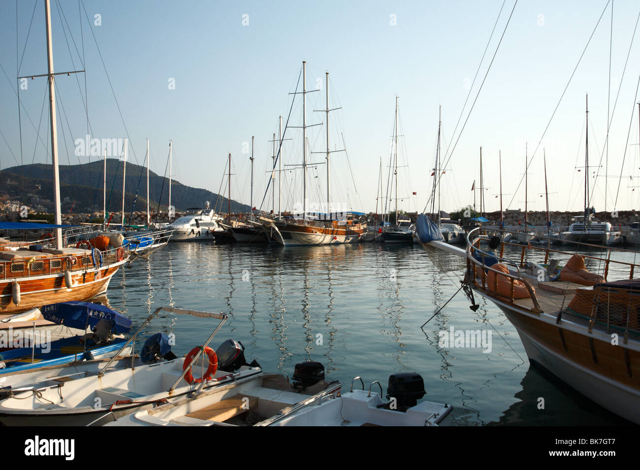 Sailboats in kalkan harbour, turkey - Stock Image