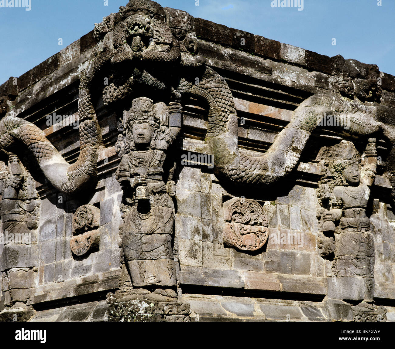 Detail of the 12th century Candi Penataran which lies about 10 kilometres to the north of Blitar, East Java, Indonesia Stock Photo