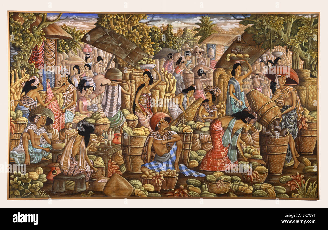 Balinese painting showing a market scene, Ubud school, Bali, Indonesia, Southeast Asia, Asia - Stock Image