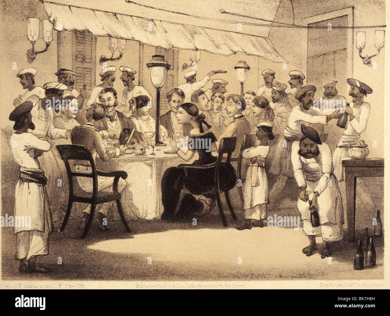 British colonials having dinner, from the satirical book Curry and Rice on forty Plates by G. F. Atkinson from 1859, - Stock Image