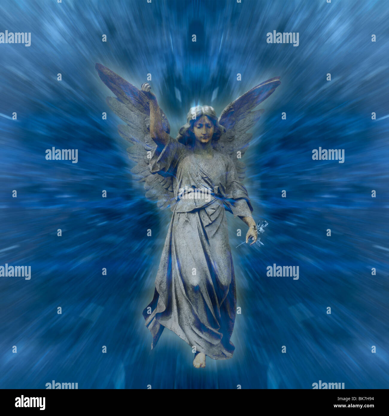 An Angel, out of the blue. - Stock Image