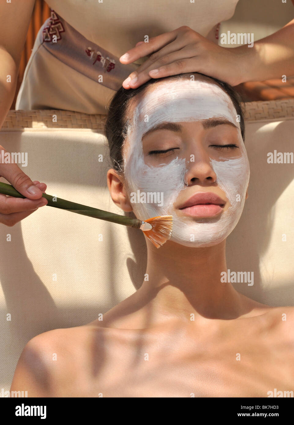 Facial at the Chi Spa at Shangri La Boracay Resort and Spa in Boracay, Philippines, Southeast Asia, Asia - Stock Image