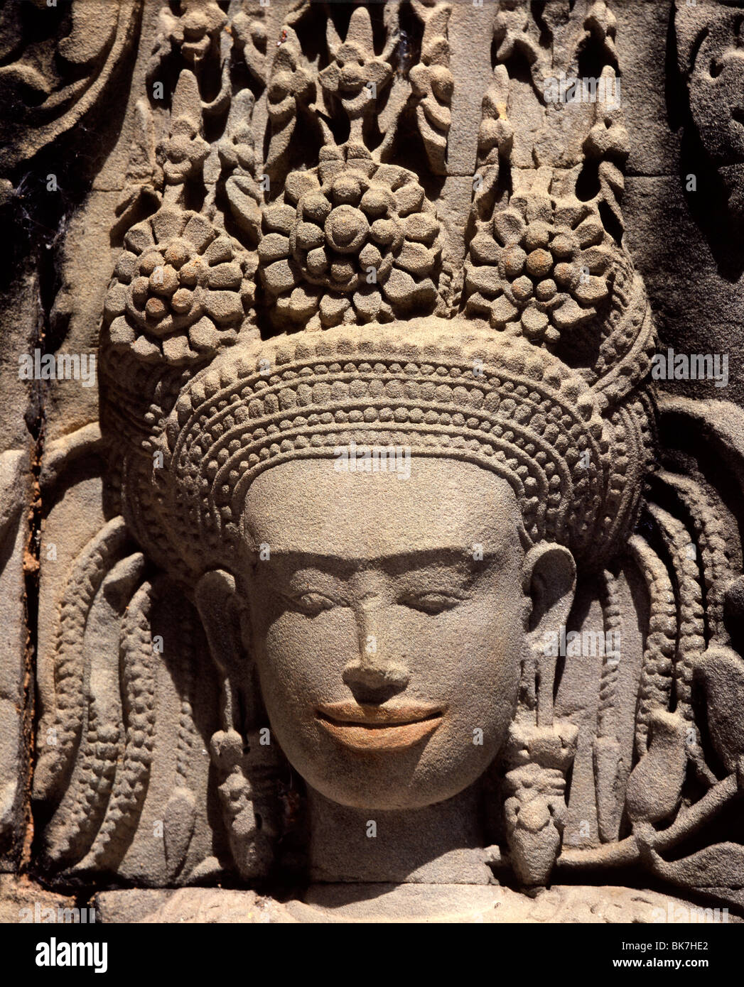 Detail of sculpture dating from the early 12th century, Thommanon, Angkor, UNESCO World Heritage Site, Cambodia - Stock Image