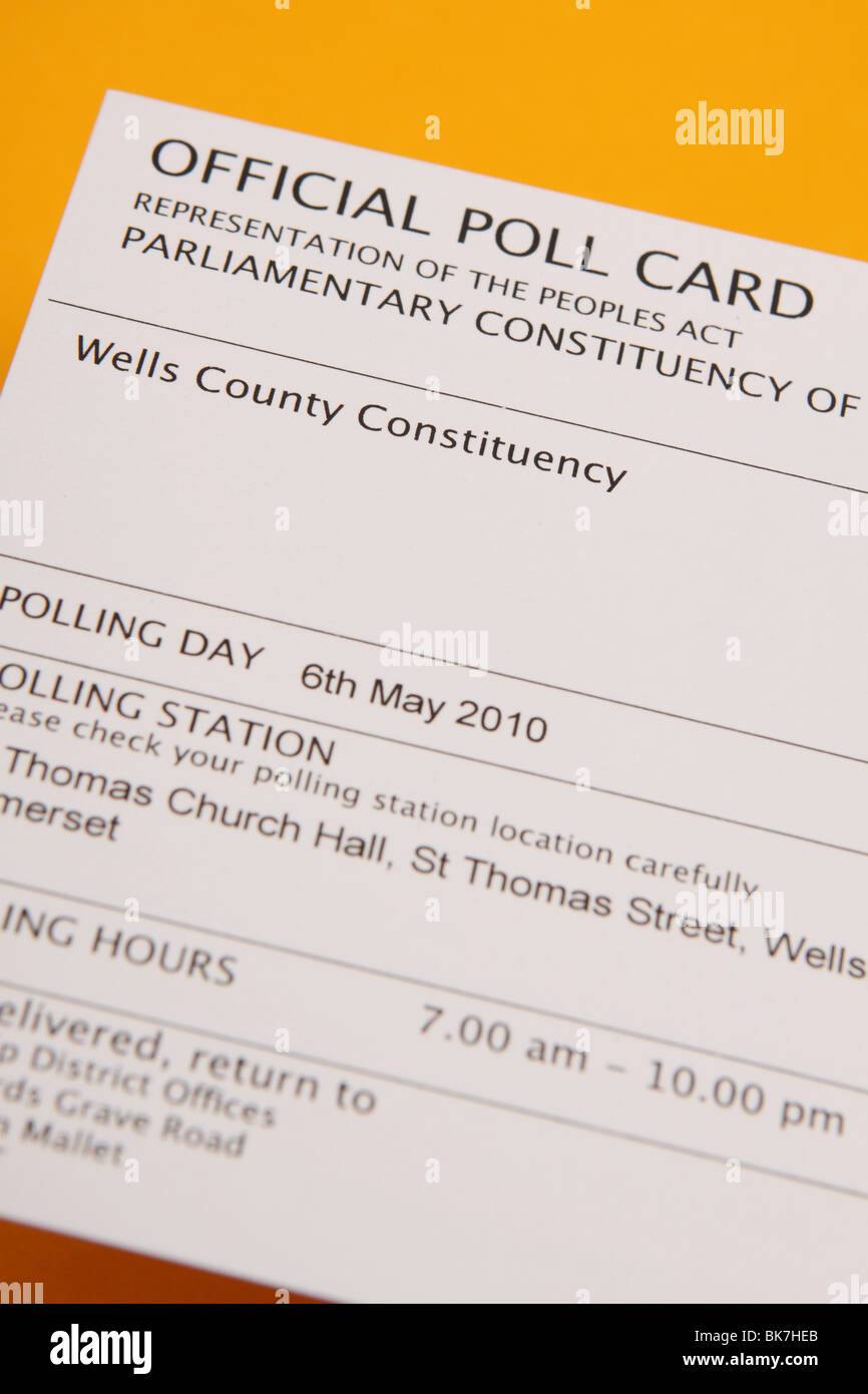 UK General Election 2010 official poll voting card for parliamentary constituency - Stock Image