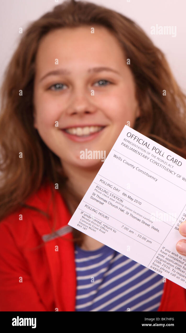 Young first time voter aged 18 years old UK General Election 2010 - Stock Image