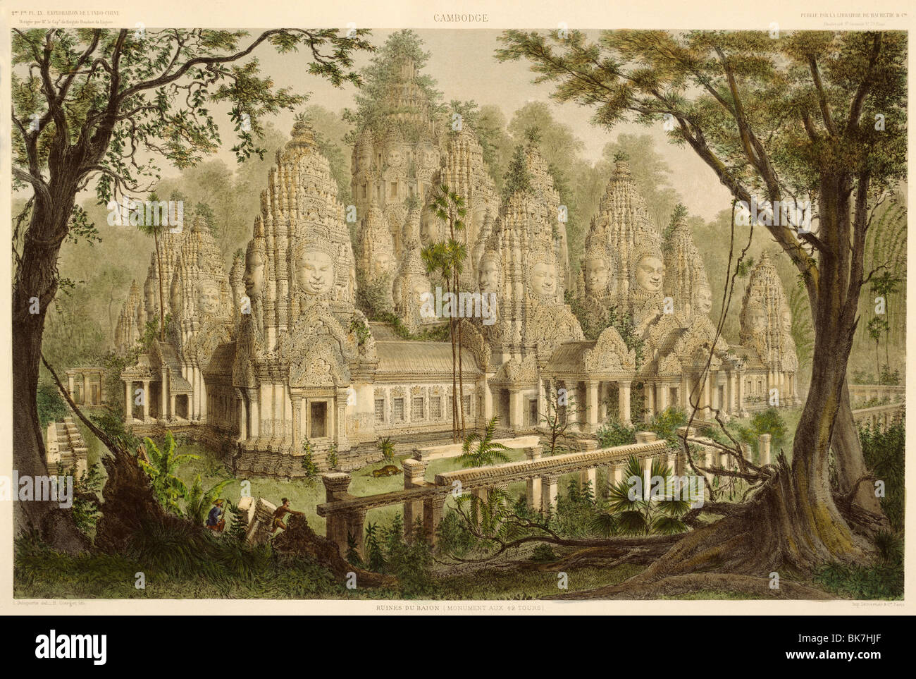 Engraving of the Bayon from Exploration de L'indo-Chine by Delaporte, Cambodia, Indochina, Southeast Asia, Asia - Stock Image