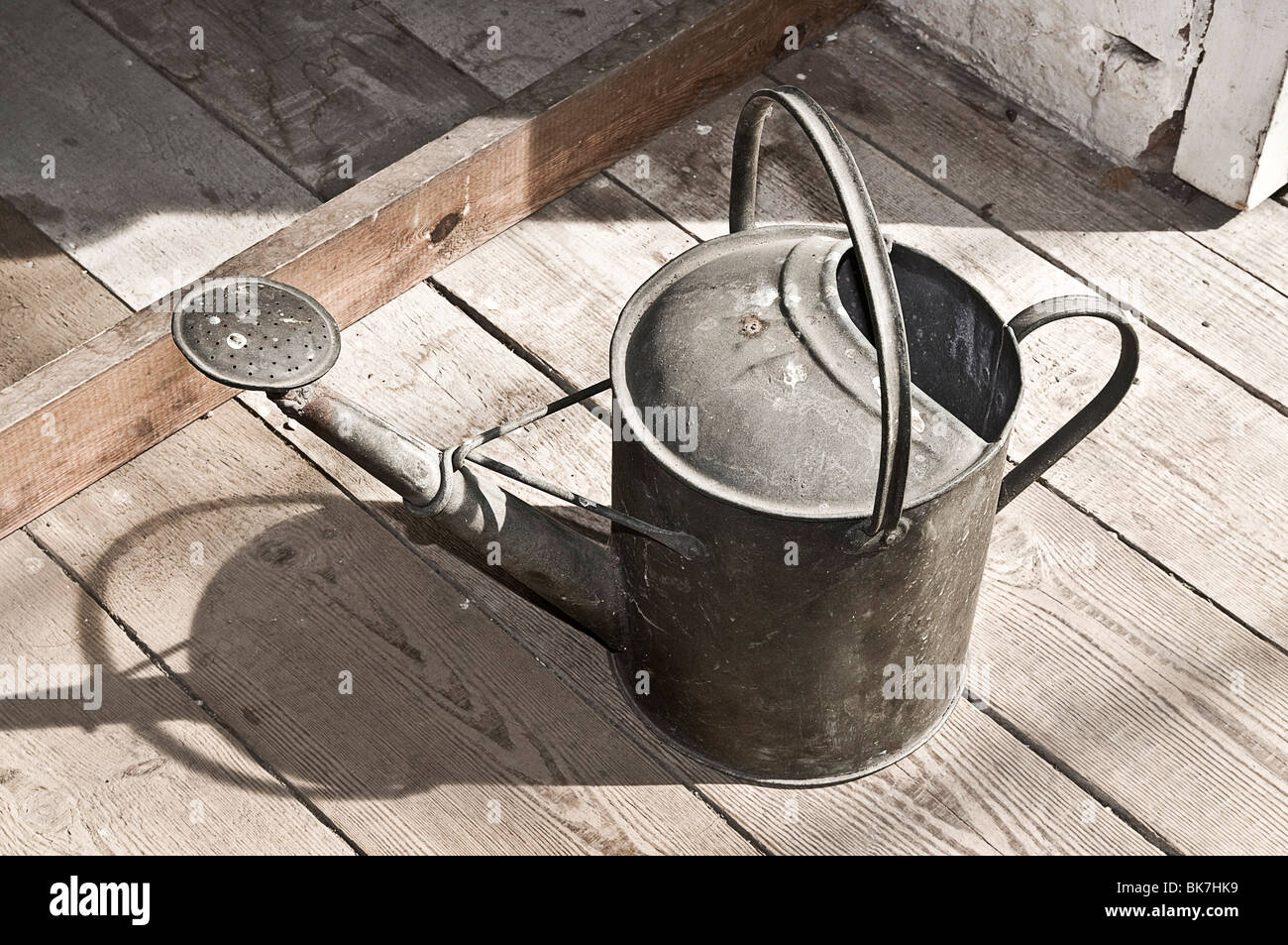 Metal watering can - Stock Image