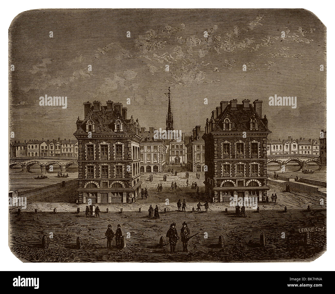 Place Dauphine during the reign of Henry IV of France. - Stock Image