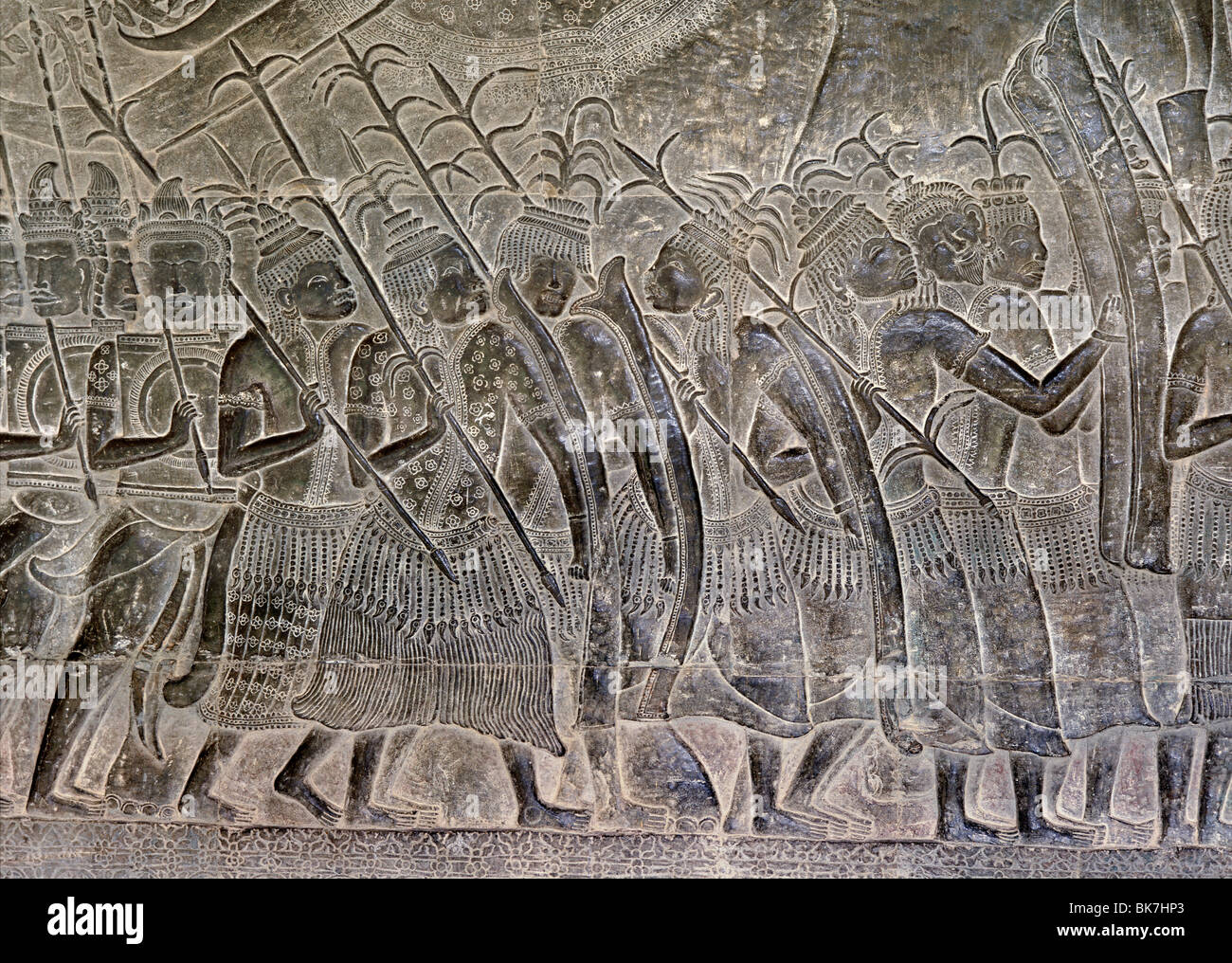 Thais marching as allies of the Khmer army, Angkor Wat, Angkor, UNESCO World Heritage Site, Cambodia - Stock Image