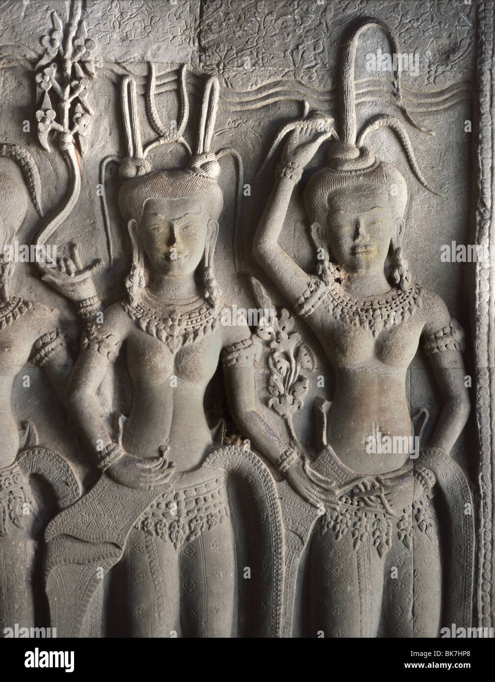 Detail of relief carvings of the 12th century, Angkor Wat, Angkor, UNESCO World Heritage Site, Cambodia - Stock Image