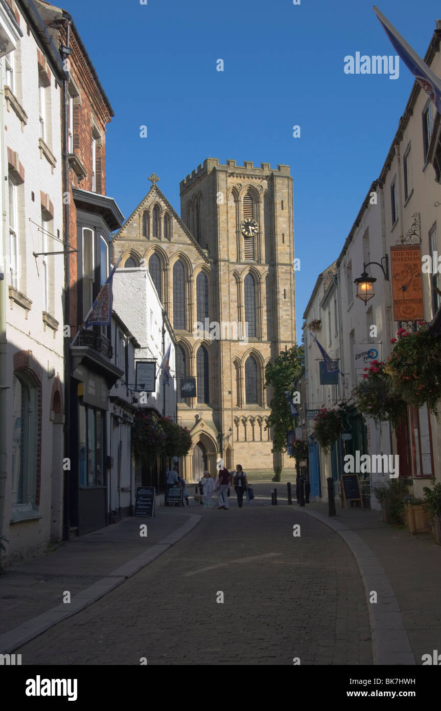 Ripon Cathedral from the pedestrian precinct, Ripon, North Yorkshire, England, United Kingdom, Europe - Stock Image