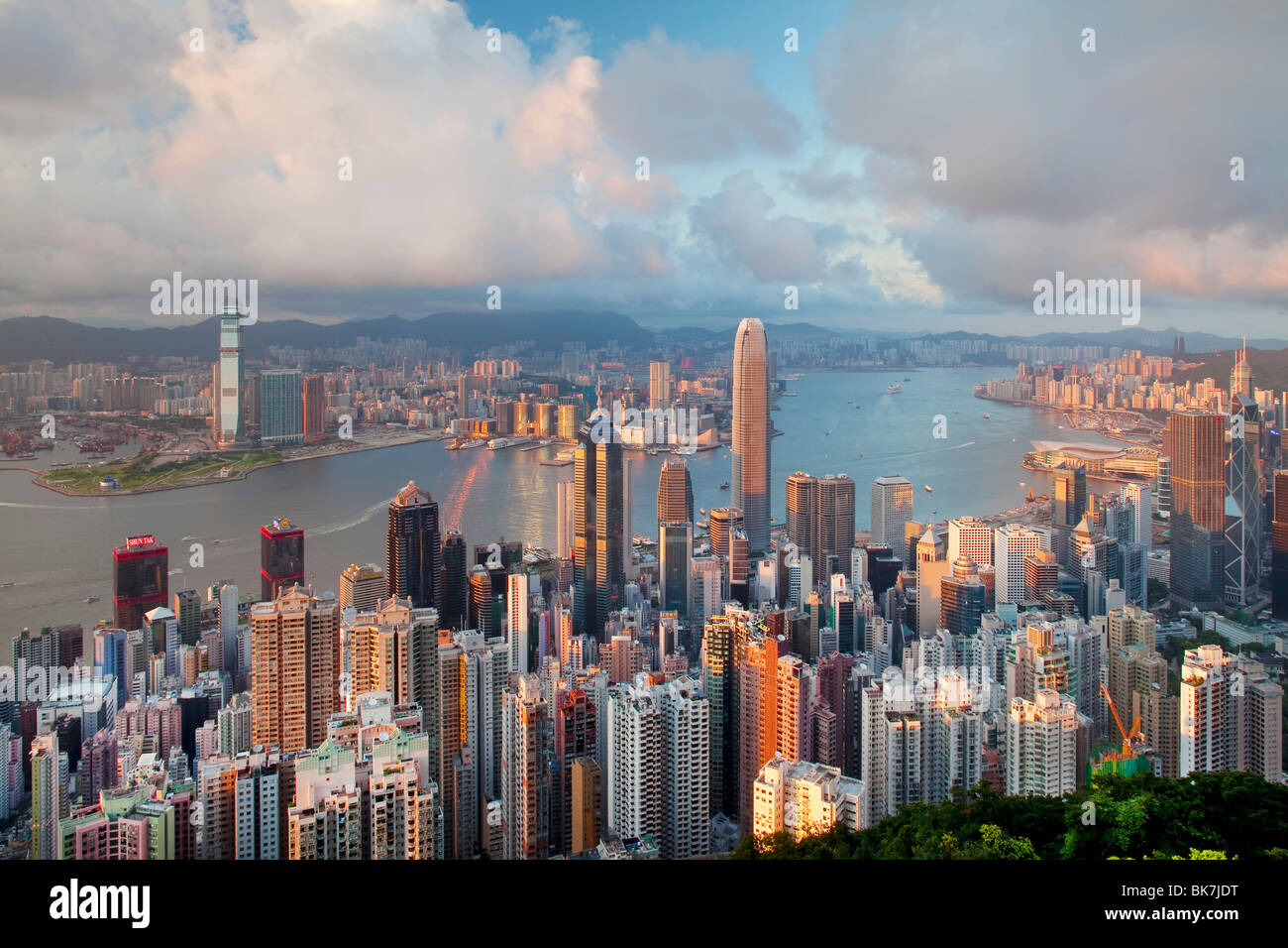 City skyline and Victoria Harbour viewed from Victoria Peak, Hong Kong, China, Asia - Stock Image