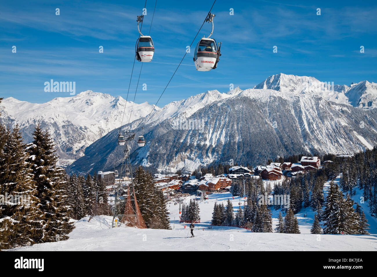 Courchevel 1850 ski resort in the Three Valleys (Les Trois Vallees), Savoie, French Alps, France, Europe - Stock Image