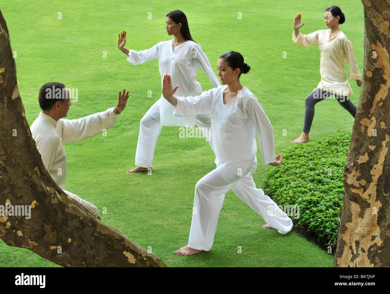 A group of people doing Tai Chi outdoors - Stock Image