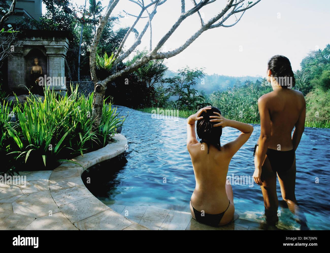 Pool at Kirana Spa, Ubud, Bali, Indonesia, Southeast Asia, Asia - Stock Image