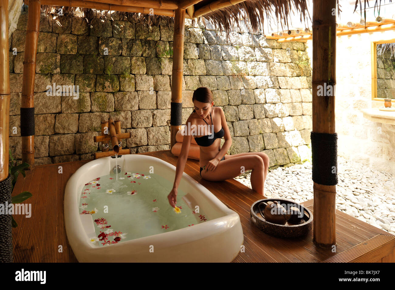 Bath at the Mogambo Spa at Plantation Bay in Cebu, Philippines, Southeast Asia, Asia - Stock Image