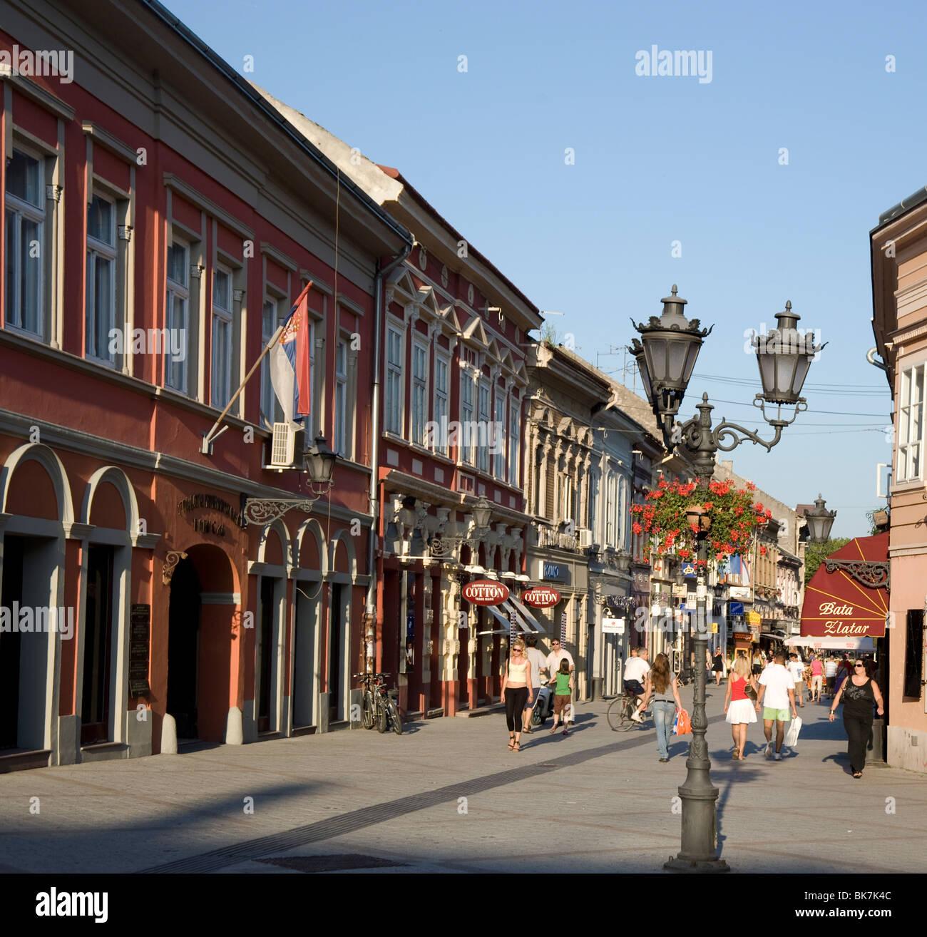 Dunavska Street, a pedestrianized area in the old quarter of Novi Sad, Serbia, Europe - Stock Image