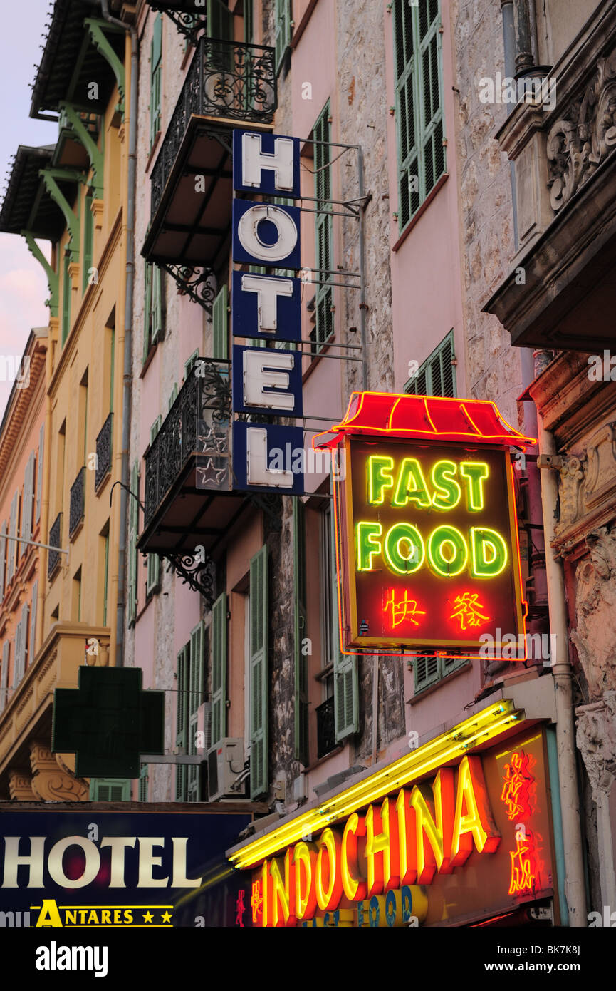 Europe France Nice Cote d'Azur Provence signs for Chinese fast food and hotels - Stock Image