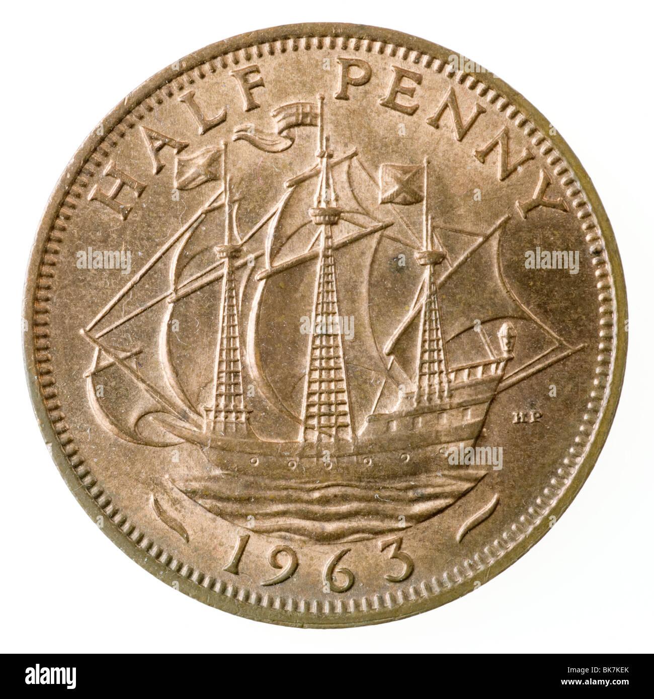 1963 British Half Penny coin - Stock Image