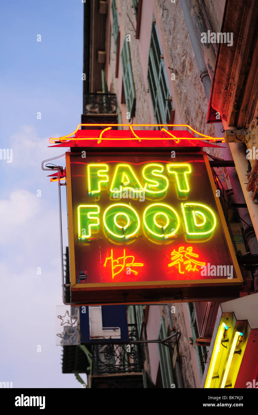 Europe France Nice Cote d'Azur Provence neon sign for Fast Food-Chinese food - Stock Image