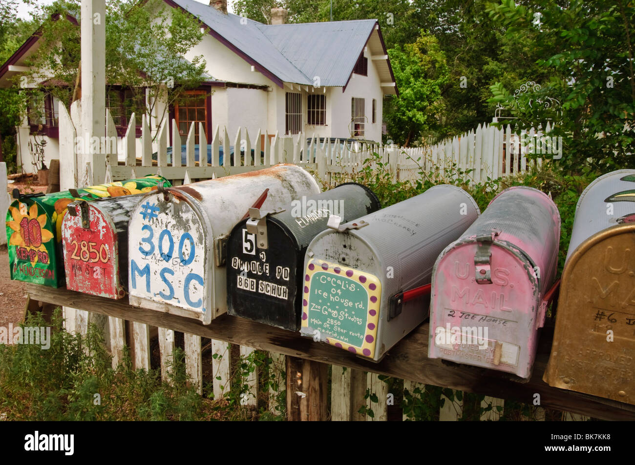 Colourful mailboxes in Madrid, New Mexico, United States of America, North America - Stock Image