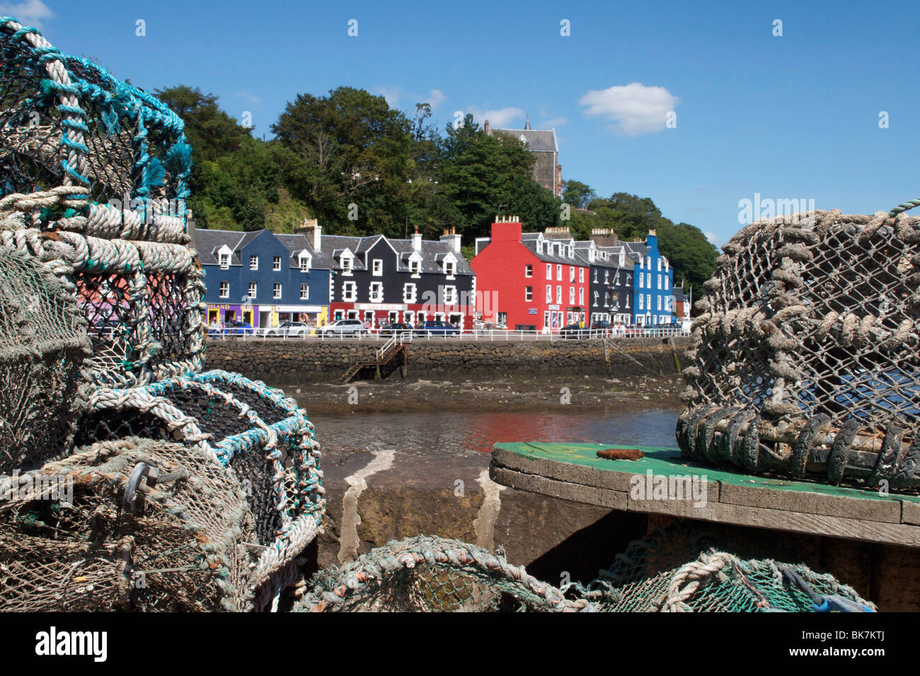 Lobster pots in Tobermory, Mull, Inner Hebrides, Scotland, United Kingdom, Europe - Stock Image