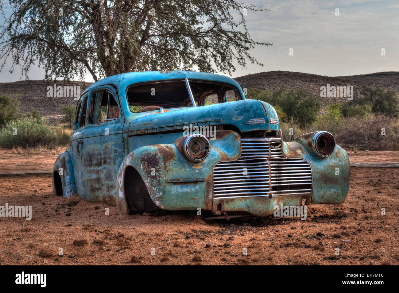 Old Vintage Car Wreck at the Fish River Canyon Canon Roadhouse Stock ...
