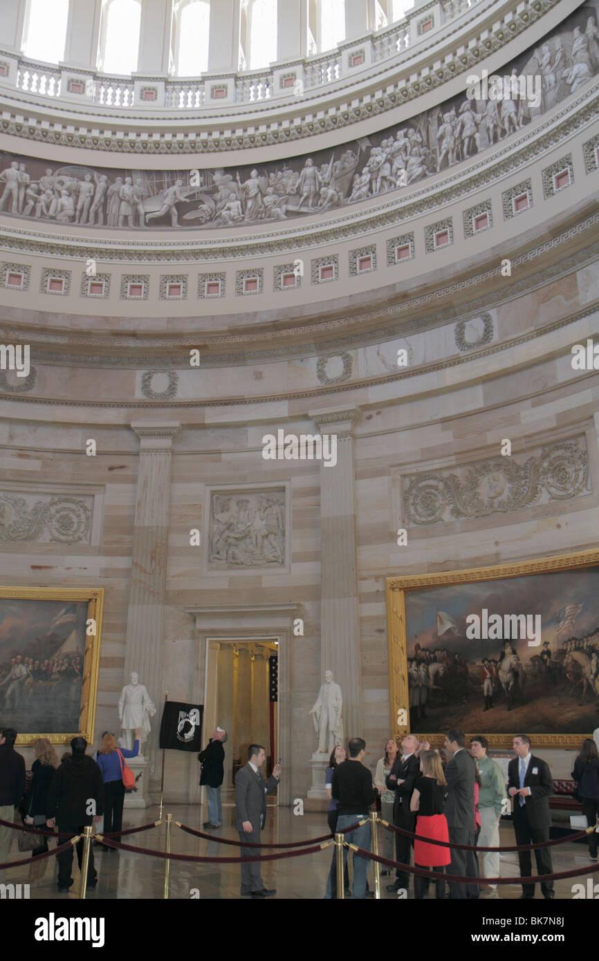 Washington DC United States US Capitol Rotunda history government frieze dome painting Surrender of Lord Cornwallis - Stock Image