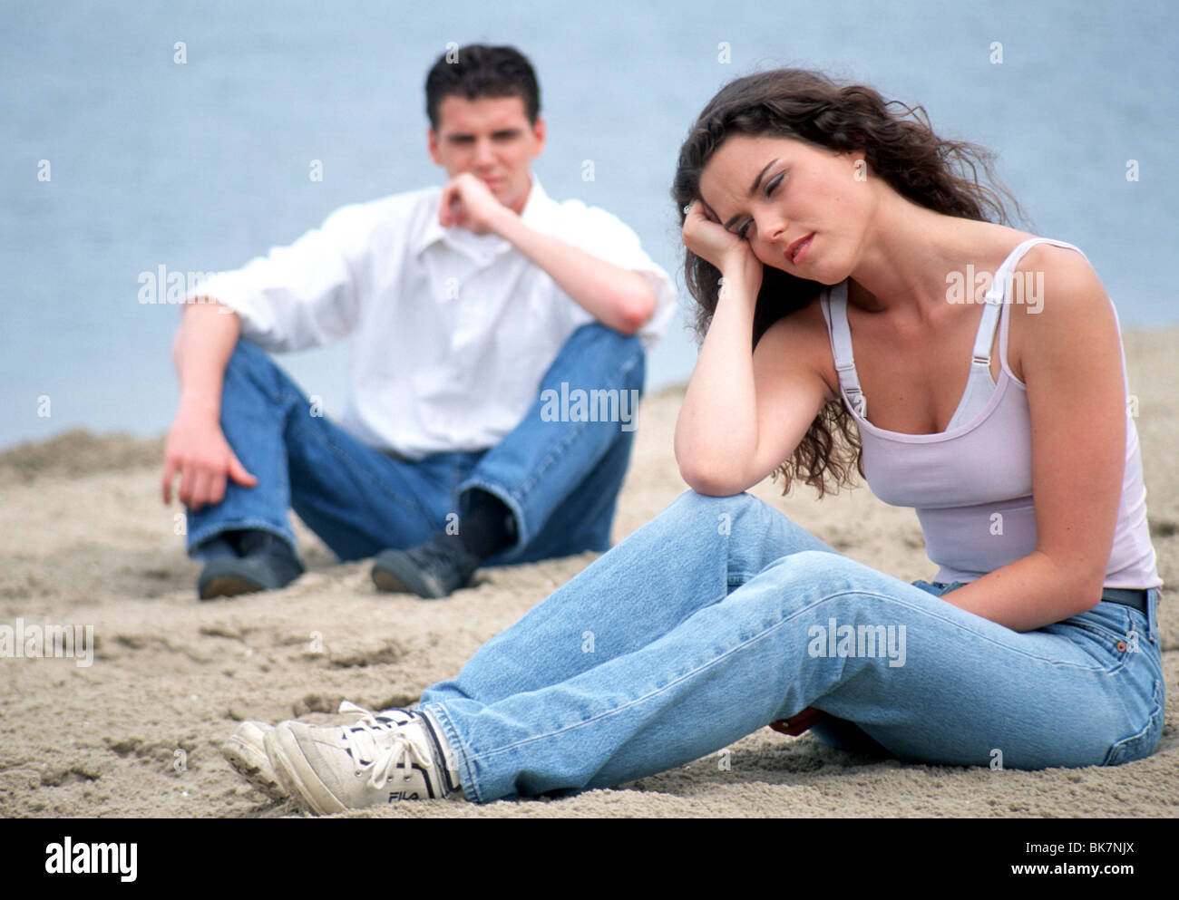 Young white couple argument - Stock Image