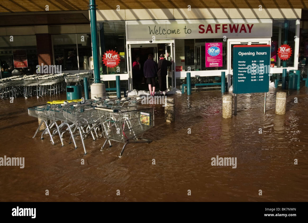 Safeway Store Flooded After Heavy Rain At Ross On Wye Herefordshire England  UK   Stock Image