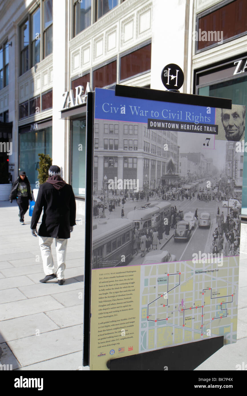 Washington DC,10th Street NW,Downtown Heritage Trail,marker,street,sidewalk,sign,self guided walking trail,Civil War to Civil Rights,history,poster,in Stock Photo