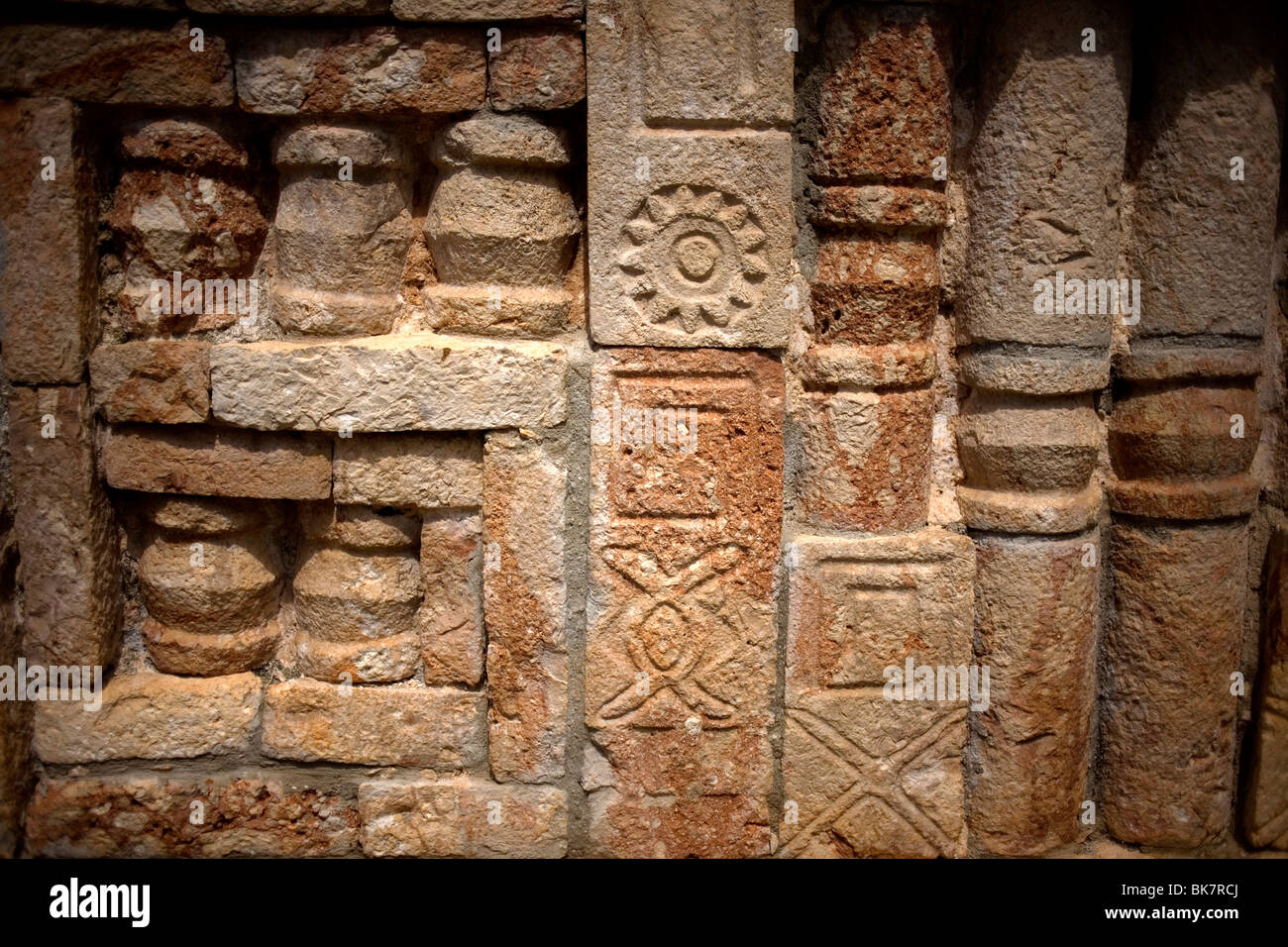 "A stone carved pattern covers a wall among the Mayan ruins of Labna, along the ""Puuc route,"" in Yucatan Peninsula, Stock Photo"