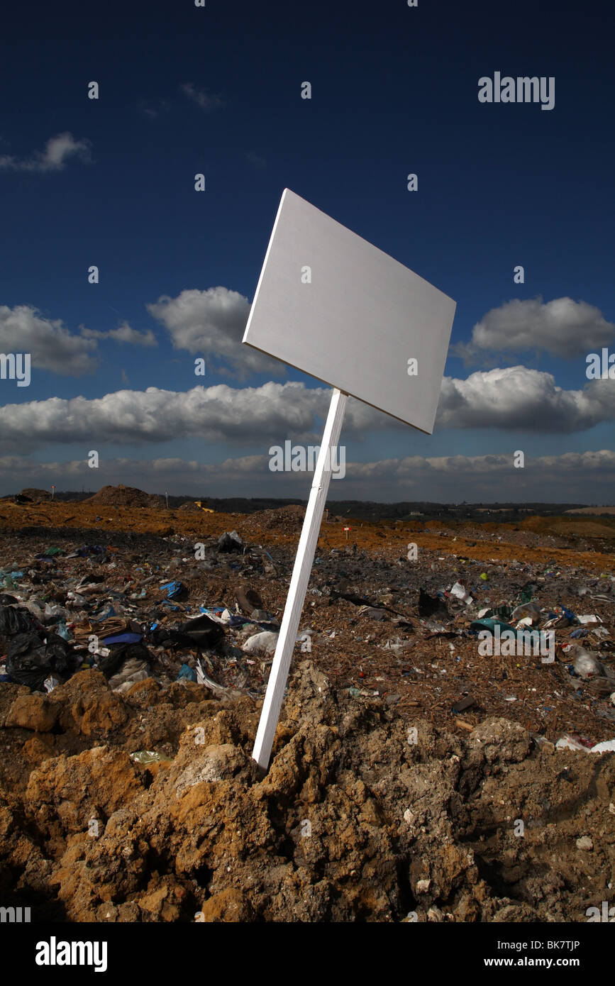 blank sign at British landfill site - Stock Image