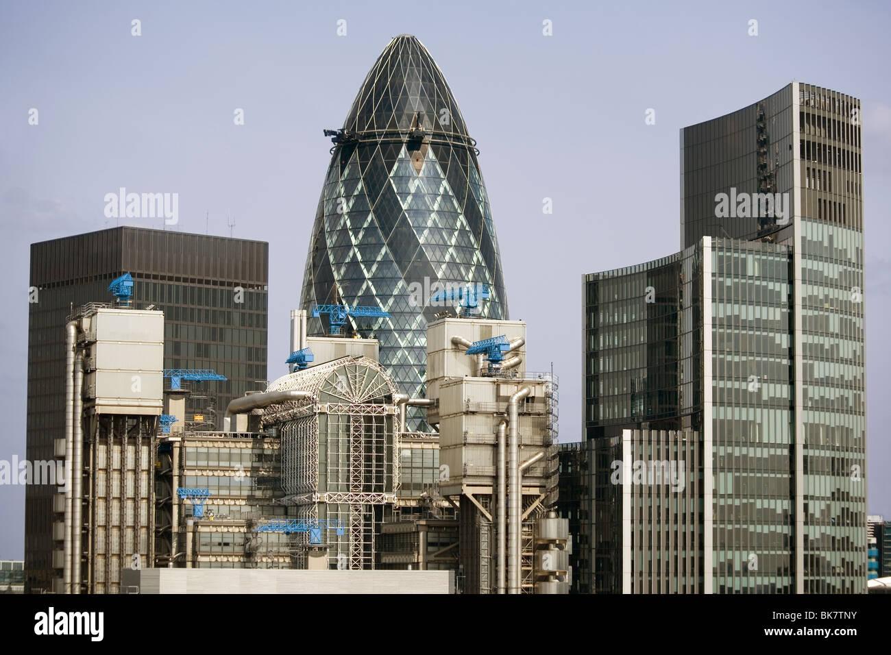 England London City skyline with Gherkin - Stock Image