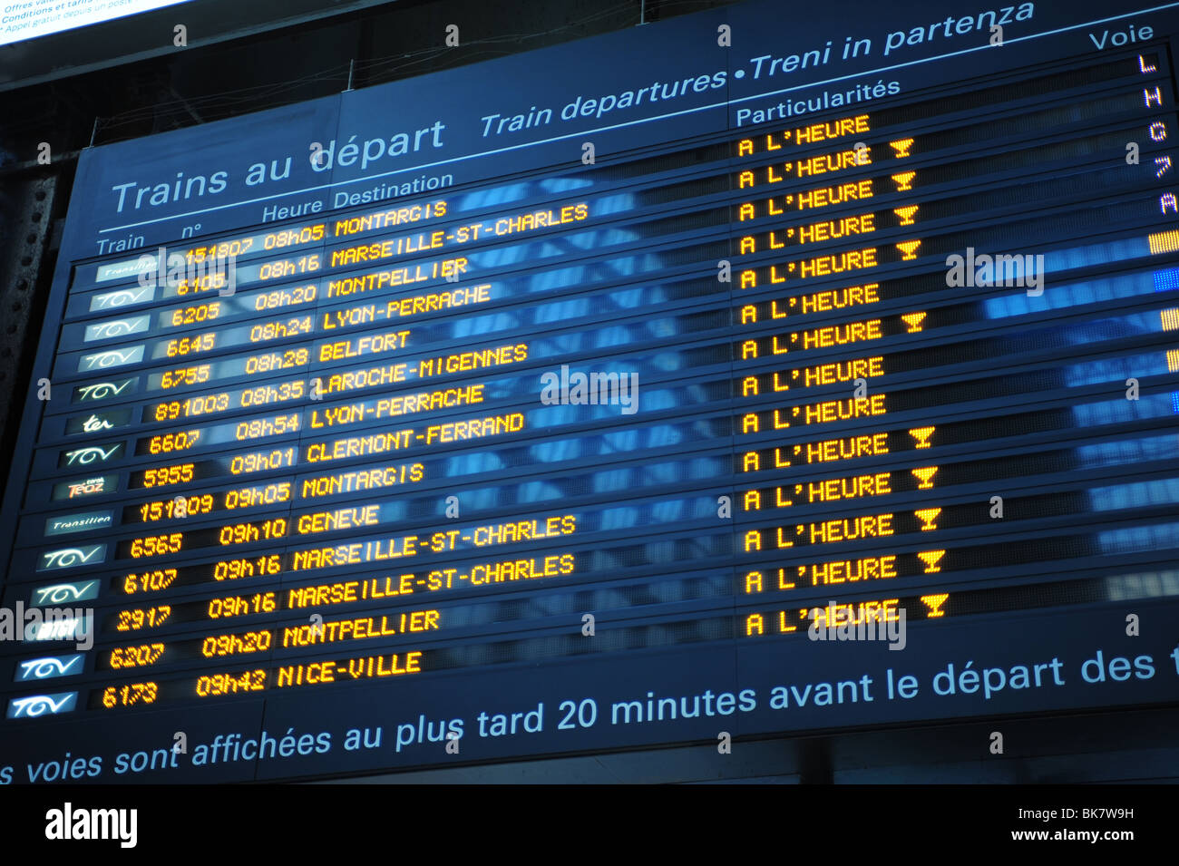 Europe France Paris information board at the train station departures timetables - Stock Image