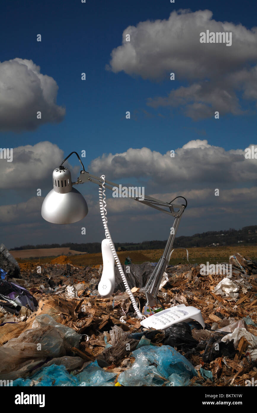 office accessories at British landfill site - Stock Image