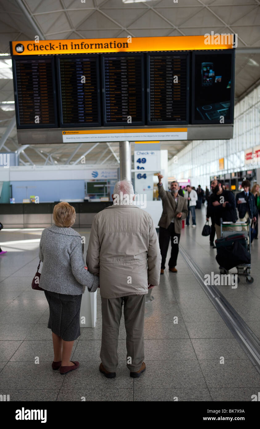 All flights in and out of London Stansted Airport in Essex canceled due to a cloud of volcanic ash from Iceland - Stock Image